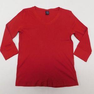 Nautica XL Red V Neck Top  Cotton
